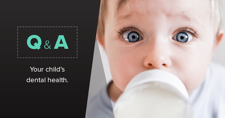 Toddler with baby bottle with text Q & A - Your child's dental health.